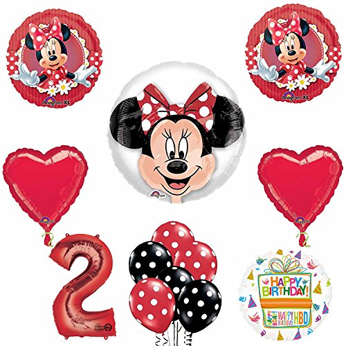 Minnie Mouse 2nd Birthday Party Supplies and Red Bow 13 pc Balloon Decorations -