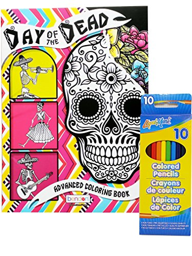 Day Of The Dead Coloring Book and Set of 12 Colored (Dead Grandma Halloween)