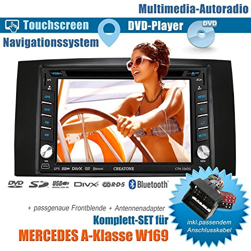 2DIN Autoradio CREATONE V-336DG für Mercedes A-Klasse W169 (04/2004-04/2012) mit GPS Navigation (Europa), Bluetooth, Touchscreen, DVD-Player und USB/SD-Funktion