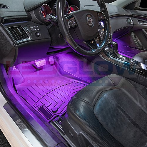ledglow 4pc multi color led car interior underdash lighting kit universal fitment music. Black Bedroom Furniture Sets. Home Design Ideas