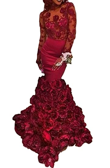 M Bridal Womens Illusion Long Sleeve High Neck Layer Flowers Mermaid Prom Dress Red US Size