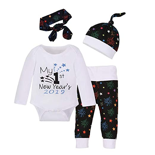 37f4e619f chinatera Baby Boys Girls Clothes New Year 2018 2019  Romper+Pants+Hat+Headband Outfit Set