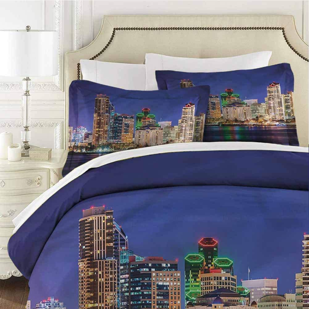 USA Bedding Set Colorful Skyline of San Diego Cal King (104x98 inches) - 3 Pieces (1 Duvet Cover + 2 Pillow Shams) - with Zipper Closure Ultra