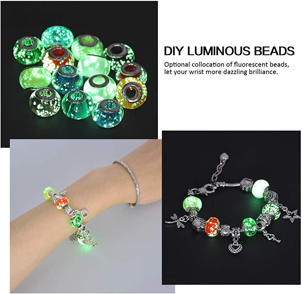 Sunstudious Charm Bracelets DIY Jewelry for Girls Jewelry Making and Crafting Coloured Bead Silver Plated Snake Chain Charm Bracelet Gift for Teens Gifts