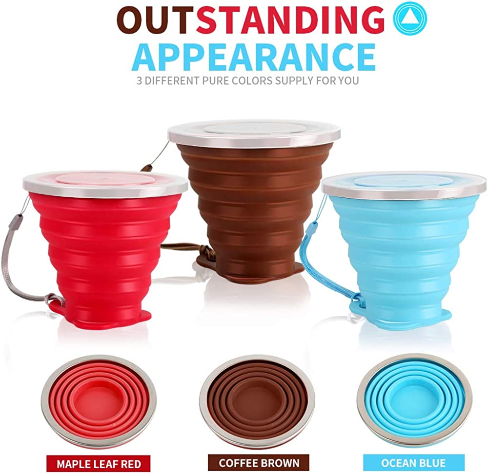 , 9.22oz, Blue, Red, Coffee Folding Silicone Cup- Reusable Expandable Coffee Cup with Lid HNYYZL 3 Pack Collapsible Travel Cup for Camping Outdoor