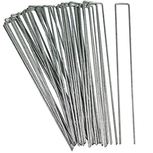 Sunnydaze 25 Pack Galvanized Garden Landscape Staples, Fabric and Sod Fence Stakes, 12 Inch - For Outdoor Gardening, Yard, and Lawn