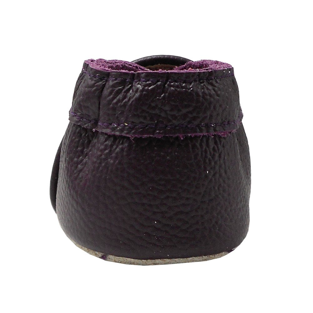 Yalion Baby Soft Sole Leather Shoes Infant Toddler Moccasin Prewalker Crib Shoes Bow Tie Dark Purple