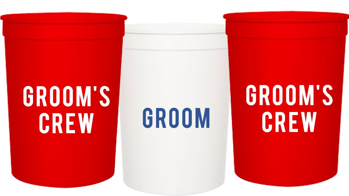 Groom and Grooms Crew Bachelor Party Cups, Set of 12 Blue and Red 16oz Stadium Cups, Buy Him A Beer The End is Near, Perfect Bachelor Party Decoration … (Red)