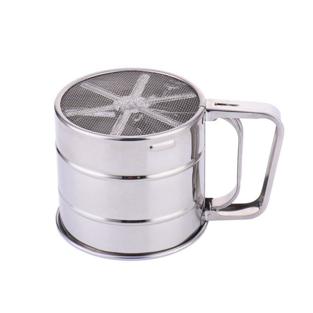 Stainless Steel Flour Sifter for Baking-Mesh Bottom Mechanical Cup Shape Flour Mesh Sifter Shaker with Measuring Scale Mark,for Sugar Icing,Chocolate,Powder Cocoa, Parmesan Cheese and More.