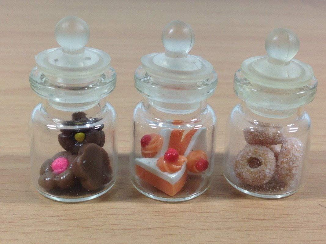 3pc Miniature Cake Food Donut Candy Dollhouse Cake in Clear Glass Mini Bottle Fruit Mix Lemon #MF006