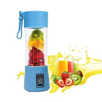 Batidora ieGeek pequeña, portátil, para hacer smoothies y batidos, recargable por USB, para viaje o deporte, sin BPA, 380 ml, color azul: Amazon.es: Hogar