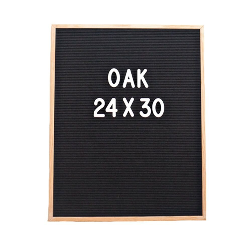 Vintage Felt Changeable Letter Board: 24 by 30 Inches Oak Wood Frame with 145 2 Inch Helvetica White Letters, Numbers and Punctuation, Mounting Hook Construction, Free Frosted Letter Bag