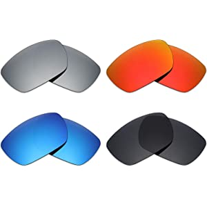 32541f1486 Mryok 4 Pair Polarized Replacement Lenses for Oakley Tinfoil Sunglass -  Stealth Black Fire Red