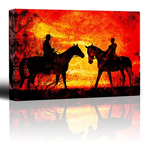 Meeting at Sunset Two Riders Meet Riding Horses Orange and Yellow Sunset Grunge Rustic Artwork Illustration