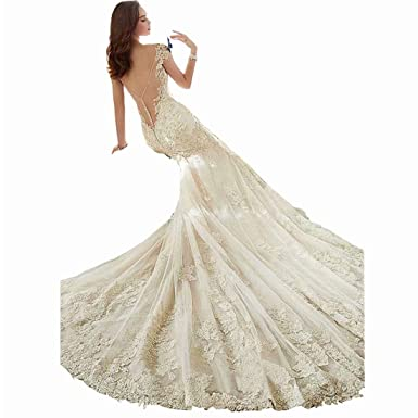 25fddae531a2 DingDingMail Tulle V-Neck Backless Mermaid Wedding Dress for Bride Long  Court Train Appliques Lace Wedding Dresses at Amazon Women's Clothing store: