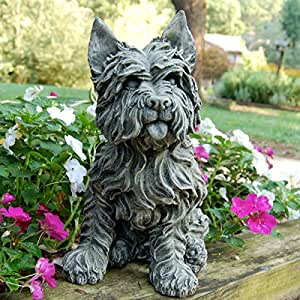 LadyBug Westie Outdoor Statue, Dover White