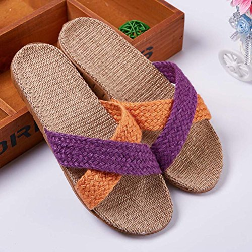 Couple Unisex Comfortable Purple Red Linen Indoor Outdoor Insole Cozy HUPLUE Slippers Shoes and Rose fxdYUgU