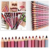 LuckyFine Lipliner Pencil Set with Pencil Sharpener (12-Pieces)