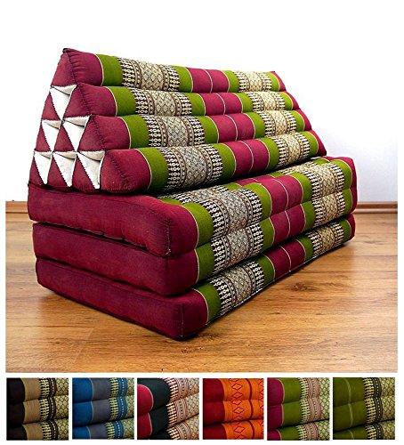 Three Fold XXL Thai Cushion, 72x32x3 inches (LxWxH), 100 % Natural Kapok Filling, Foldable Thai Mat with Triangle Cushion, Headrest, Thai Pillow by LivAsia