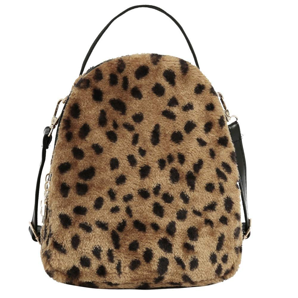 Amazon.com: Women Girl Backpack Leopard Print Plush Shoulder Bag Student Satchel Travel School Crossbody for Girls: Kitchen & Dining