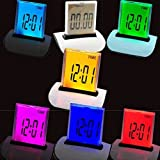 Denshine Digitaler LCD Wecker farbverstellbar mit 7 LED Farben Thermometer & Kalender 1 stuck