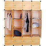 20 Cube DIY Storage Cabinet Shoe Rack Organiser Closet Clothes Wardrobe Shelf (Yellow)