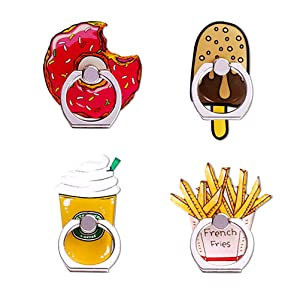 UnderReef Phone Ring Holder Stand, Foods Cell Phone Ring Stand Holder 360 Rotation Hand Grip Stand Desk Car for iPhone Samsung Smartphone Tablet 4 Packs (Donut Ice Cream Coffee French Fries)
