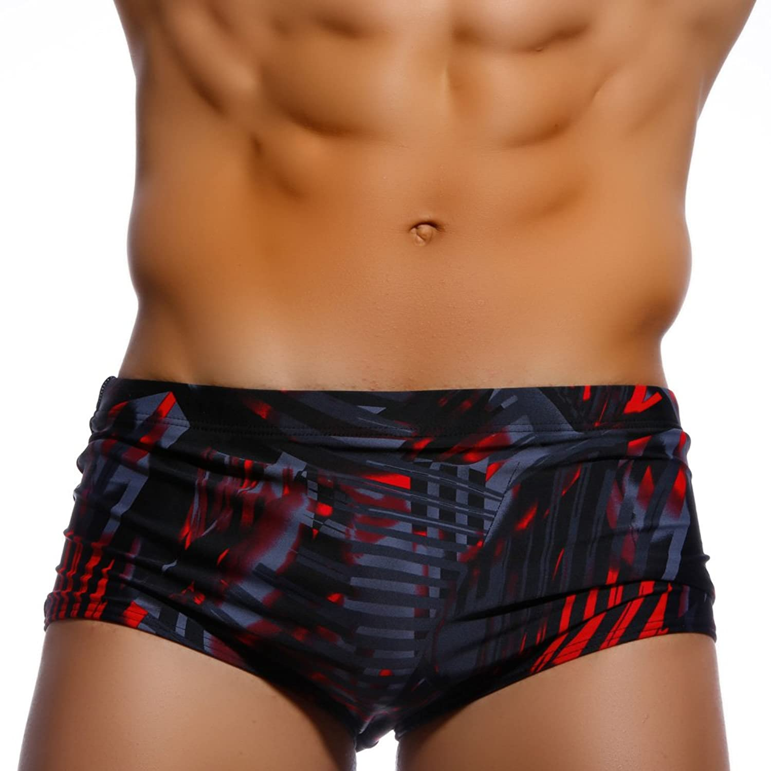 Zehui mens swimwear sexy sport shorts tie rope swim trunks