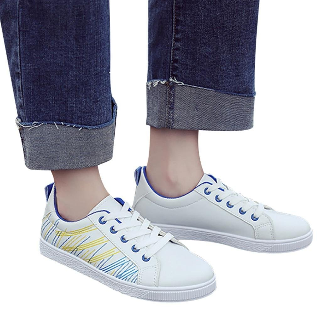 Kinrui Women Shoes Casual Student Flat Shoes with Lace-Up Sport Gym Walking Shoes (Blue, US:7.5)