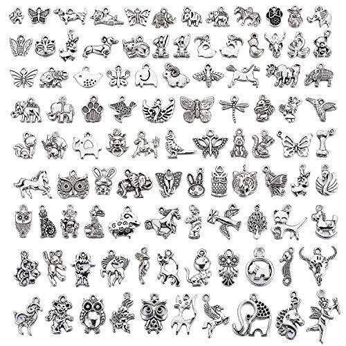 Charm Animal Bracelet - UKER Bulk Mixed Animals Charms Pendants DIY Christmas Gifts for Necklace Bracelet Jewelry Making and Crafting,Tibetan Silver Color, About 100 Pcs