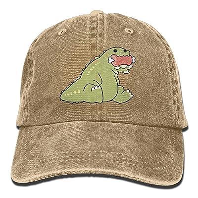Hhil Swater Unisex Cute Dinosaur Baby Eating Meat Adjustable Denim Baseball Caps Cowboy Peaked Hats