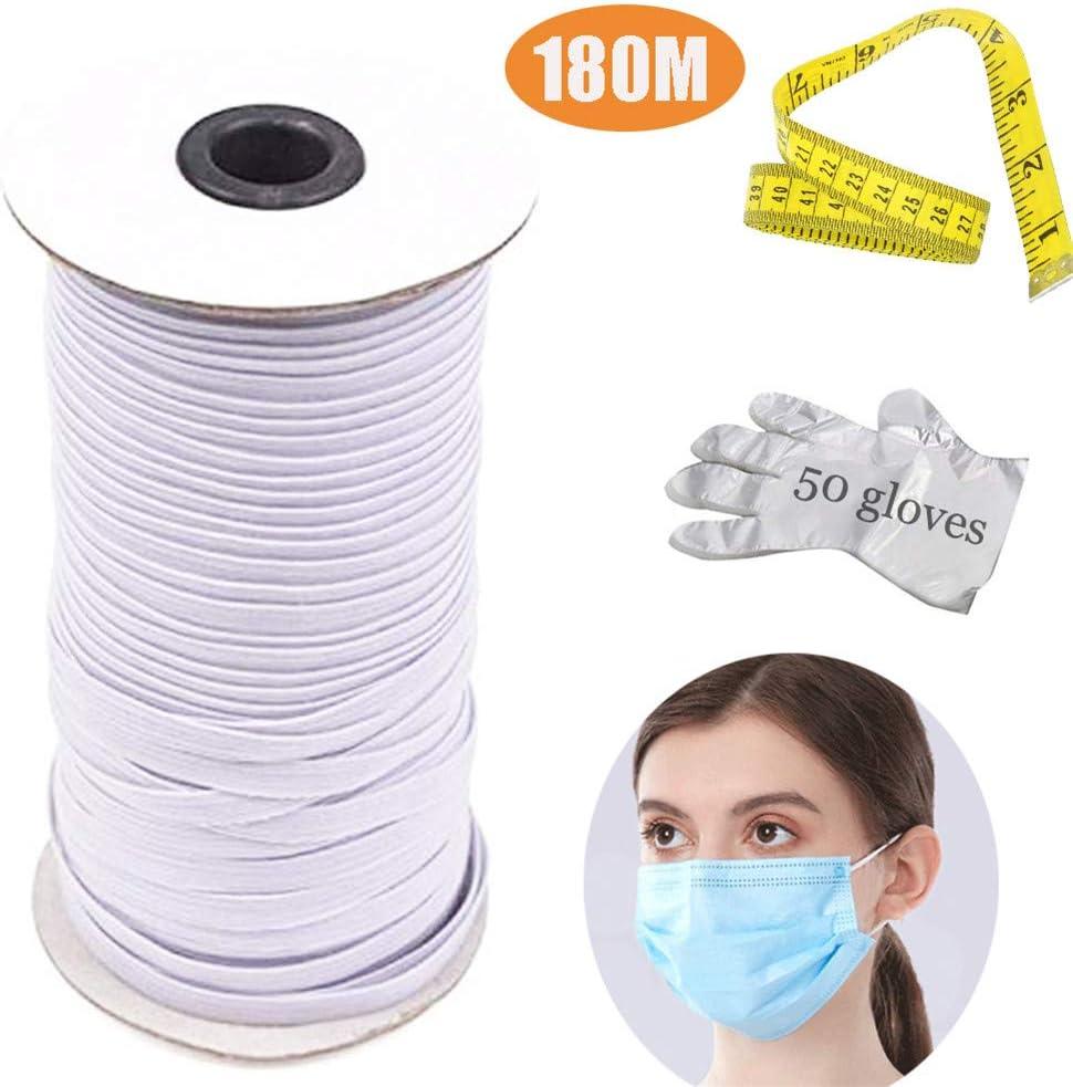 Nifogo Cordón Elástico Cordón de Goma 3mm Ancho, Cinta Elástica de ...