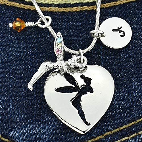 (Personalized Tinkerbell Fairy Heart Necklace Custom Pendant Sparkling Crystals Hand Stamped Initial Letter and Birthstone Charms Chain Gift Jewelry)