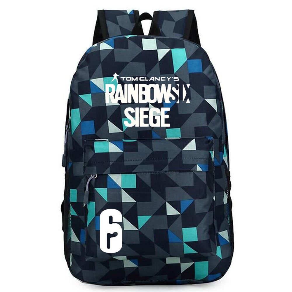 Rainbow Six Logo Oxford Backpack Black School Bag (#4)