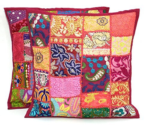 """2pc Ethnic Sari Patchwork Pillow Cover , 17x17"""" Embroidered"""