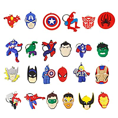 Melleco 24pcs Keychain Key Ring Goodie Bag Stuffer Christmas Gift Holiday Charms for Kids Children Birthday Party Favors School Carnival Reward Prizes Decoration Collectible for Superhero Theme: Industrial & Scientific