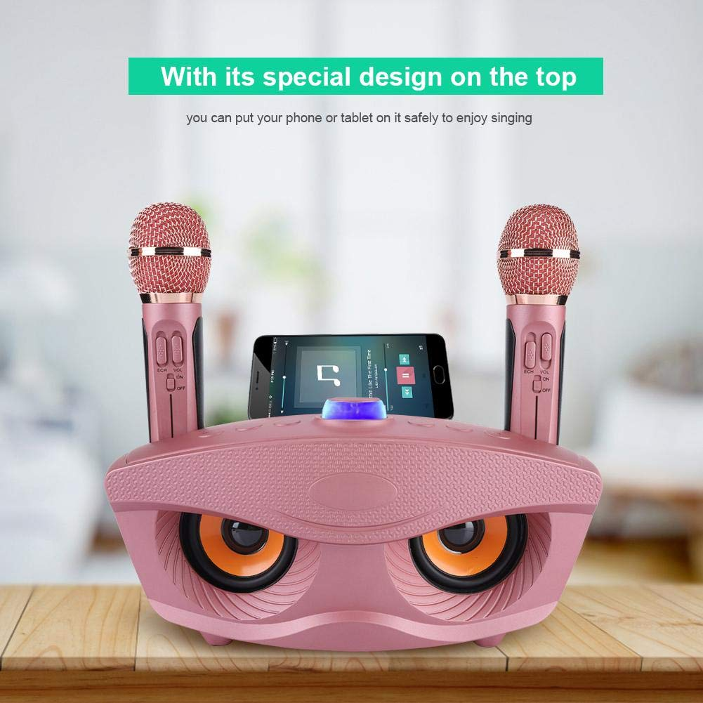 Home Karaoke Machine Wireless Bluetooth Speaker with 2 Mircophones, Support Bluetooth, TF Card, AUX, FM, U disk, Comes with Karaoke Mode Large-capacity Battery for Speaker and Microphone,Rose Gold by Zopsc (Image #6)