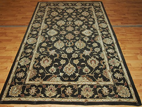 5' X 8' Overall Decorative Persian Kashan Burgundy Rectangular Wool Rug