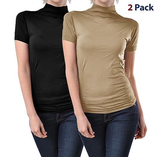 70892e1447d698 Kuda Moda 2 Pack Women Seamless Short Sleeve Mock Neck Turtleneck Blouse Top  Tee Shirts (