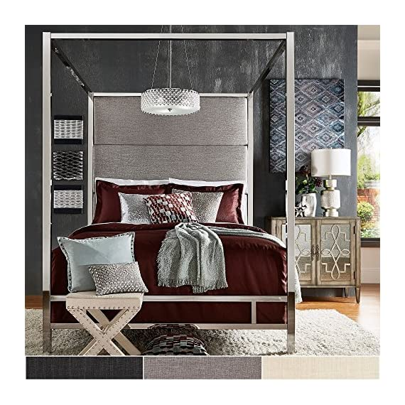 Inspire Q Evie Chrome Metal Canopy Bed with Linen Panel adboard by Bold Grey Queen - Complete bed includes: One (1) headboard, one (1) canopy, one (1) set of rails, three (3) metal slats Upholstery options: dark grey linen, grey linen, and off-white linen Available in full, queen, and king sizes - bedroom-furniture, bedroom, bed-frames - 61owKuNPcaL. SS570  -