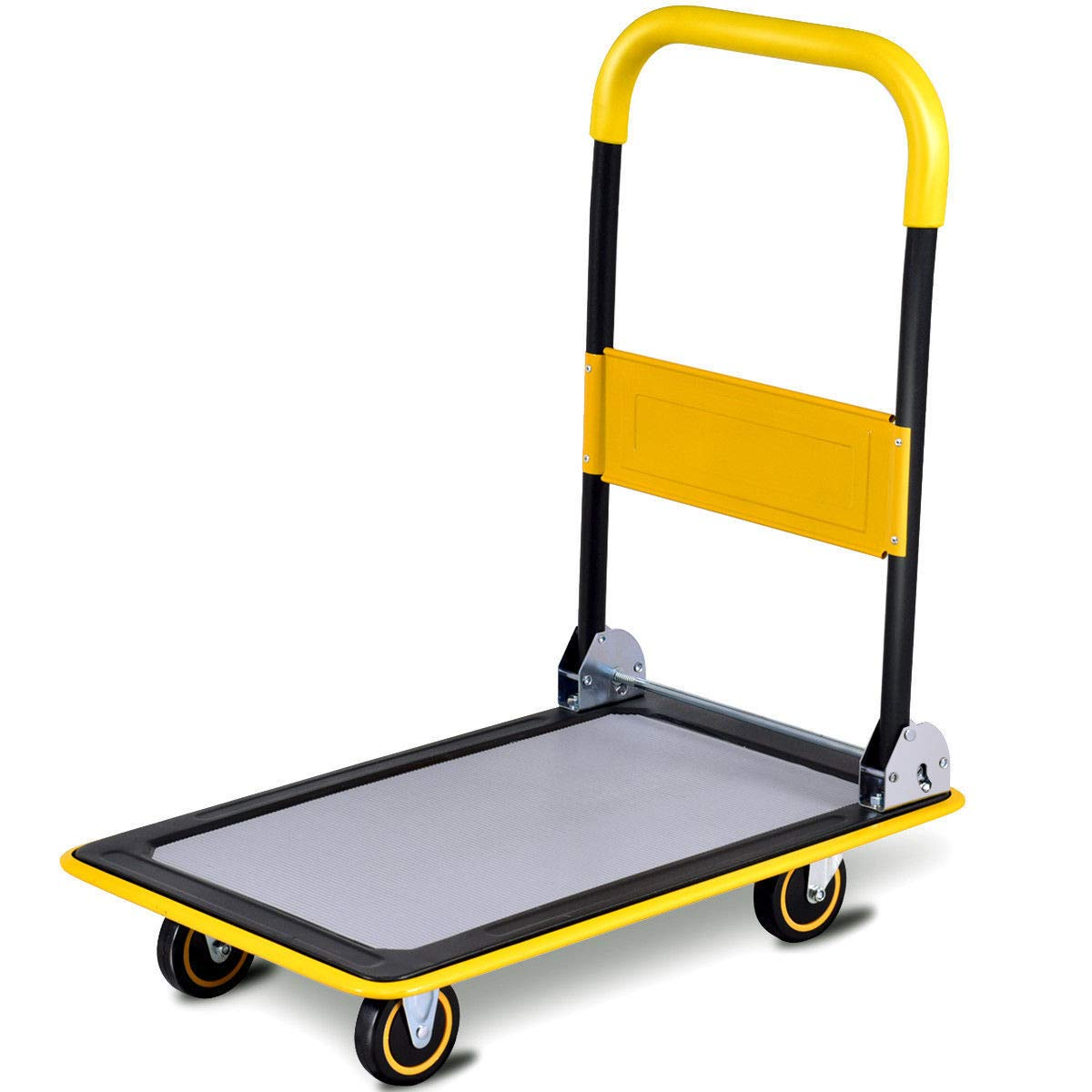 Seleq Foldable Platform Push Cart Dolly with Rubber Grip Handrail - 330 lbs Capacity