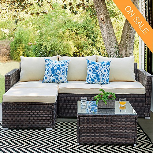 Patio Furniture Sectional Sofa Set – 3 Piece All Weather Resin Wicker Outdoor Conversation Set Beige Washable Cushions & Glass Coffee Table | Garden | Backyard | Pool | 2 Throw Pillows | 2 Clips (Piece 2 Cushion Bench)