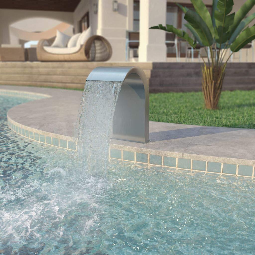 Festnight Outdoor Pool Fountain Garden Waterfalls Stainless Steel Silver 17.7'' x 11.8'' x 25.6''
