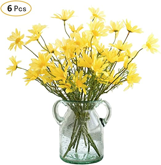 Jia Hu, 6 piezas artificiales flores margarita arreglos casa oficina de plantas jardín decoración de la boda, amarillo: Amazon.es: Jardín