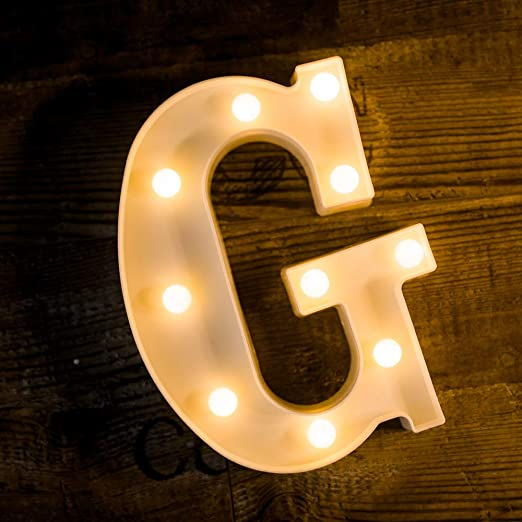 Foaky LED Letter Lights Sign Light Up Letters Sign for Night Light Wedding/Birthday Party Battery Powered Christmas Lamp Home Bar Decoration(G)