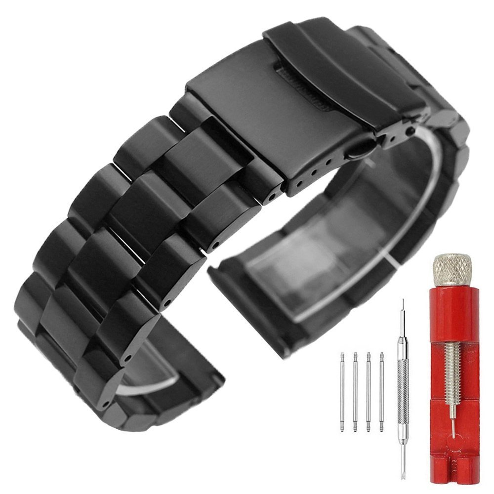 24mm Black Matte Wrist Bracelet Top Grain Stainless Steel Replacement Watch Band with Double Locks