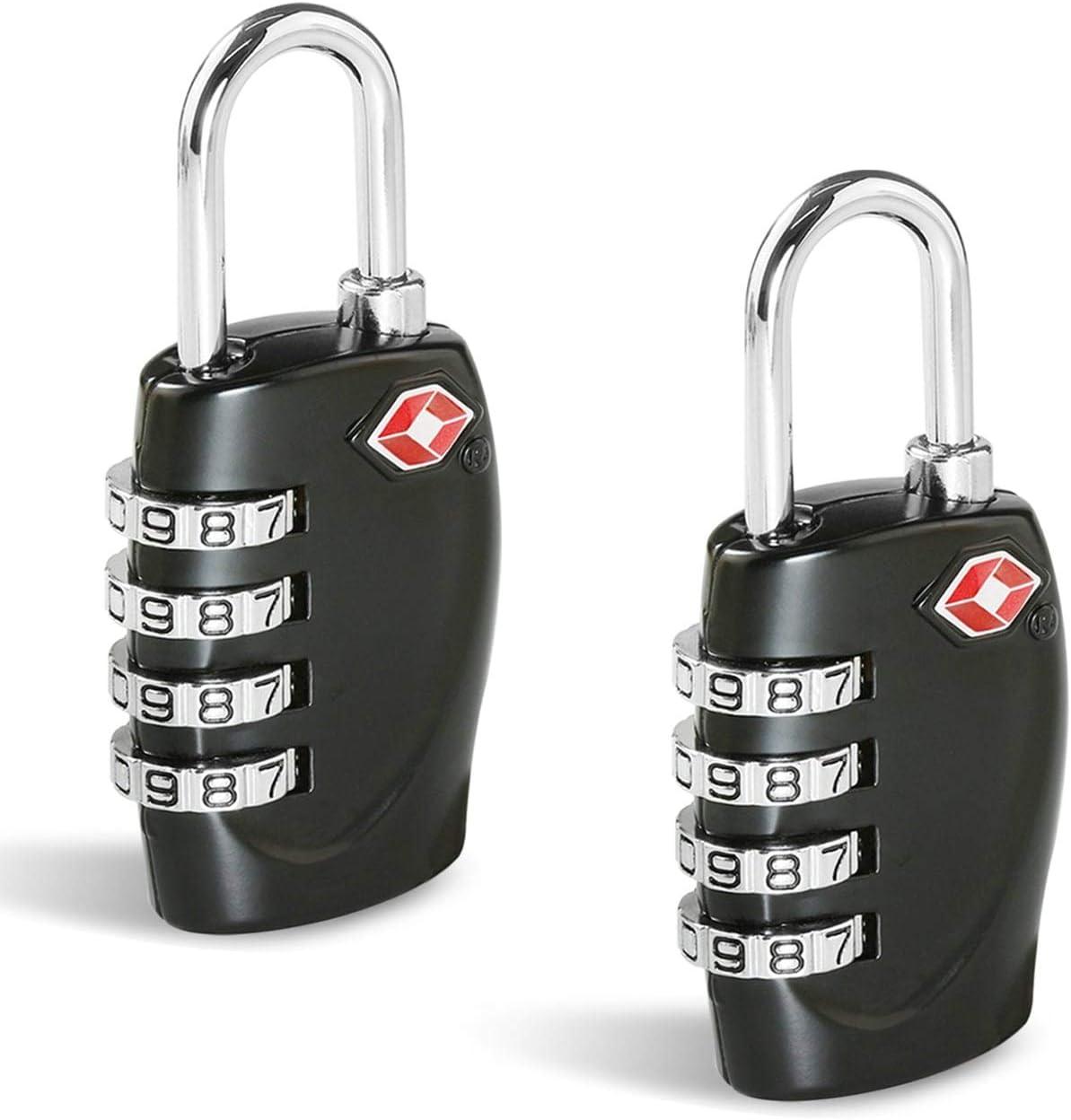 TSA Candados Maleta, Candado Homologado Equipaje de Seguridad [2 Pack] CFMOUR Combinación de 4 dígitos con Indicador para Maletas de Viaje Mochila - Negro