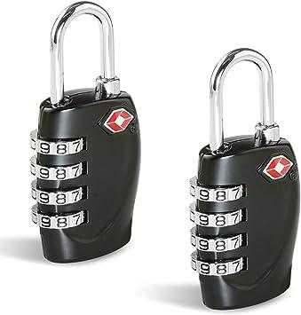 TSA Candados Maleta, Candado Homologado Equipaje de Seguridad [2 Pack] CFMOUR Combinación de 4 dígitos con Indicador para Maletas de Viaje Mochila - Negro: Amazon.es: Equipaje