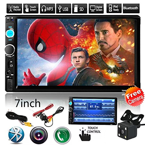 Cavogin Car Rear View Camera + 7″ Double Din Touchscreen In Dash Stereo Car Receiver Audio Video Player Bluetooth FM Radio Mp3/TF/USB/AUX-in/Subwoofer + Remote Control