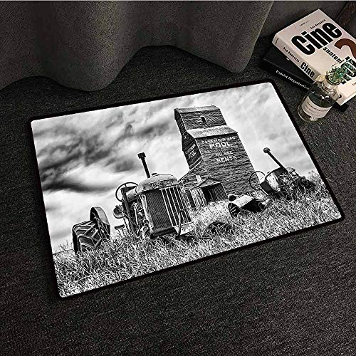 Industrial Decor Non-Slip Door mat Old 60S Abandoned Tractor in The Farm in Central Canada Nostalgic Machinery Elements Image Suitable for Outdoor and Indoor use W20 xL31 Grey